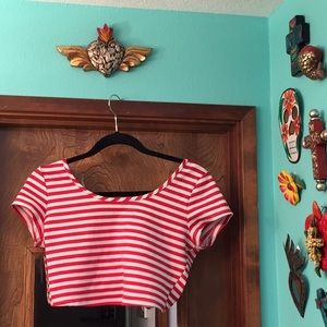 Red and White Crop Top